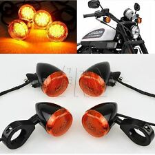 Motorcycle 41mm Clamp Front Rear LED Turn Signal Amber Lens For Harley Chopper