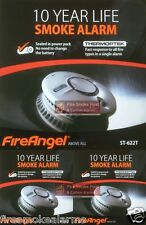 3 x FIREANGEL ST622 10 YEARS Battery Powered Thermoptek Optical Smoke Fire Alarm