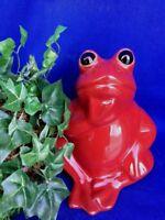 Toscano RED TREE FROG Garden Statue Shelf Sitter Terra Cotta Figurine UNIQUE 7/6