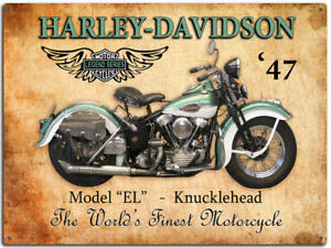 1947 HARLEY DAVIDSON EL KNUCKLEHEAD -LARGE TIN SIGN