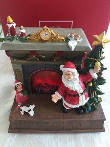 Lenox Christmas Tree Led Fireplace Timer Figurine Santa Claus Christmas Gift $80