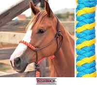 Classic Equine Rope  Halter Turquoise Yellow Horse Tack
