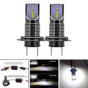 Pair Super Mini H7 LED Headlight Kit Bulb 100W 26000LM w/ Canbus No Errors 6000K