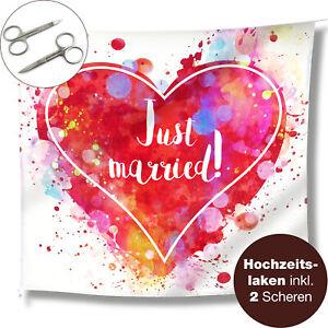 WeddingTree Just married Hochzeitslaken - Herz zum Ausschneiden 2 Scheren