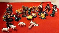 Vintage Miniature Plastic Nativity Set Christmas Cake Decoration 23 Pieces Xmas