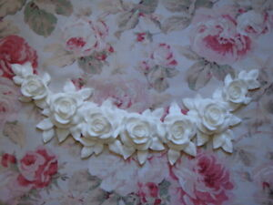 New! Shabby Chic XLG CARVED ROSE & LEAF SWAG/GARLAND Pediment Applique