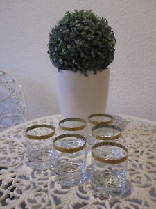 6 Ingrid Gläser  Ingrid-Glas  Whisky-Becher Likör-Gläser 70er Jahre mit Goldrand