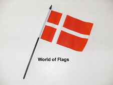 "DENMARK SMALL HAND WAVING FLAG 6"" x 4"" Danish Flags Crafts Table Display"