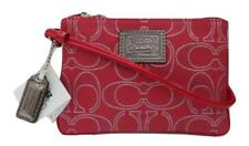 New NWT Coach Poppy Ruby Red and Silver Signature Wristlet Wallet Purse 46131
