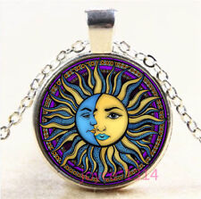 Sun and Moon Face Cabochon Silver/Bronze/Black/Gold Glass Chain Necklace #6680