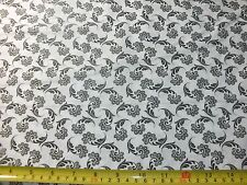 Black & White Quilt Fabric Floral Tiny Flowers Flower Vines Black on White BTY