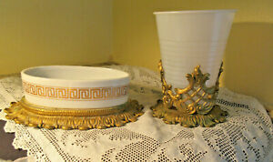 Vintage Soap Dish Gold Gilt and Porcelain with Matching Cup/Hairspray Holder