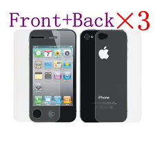6 Pcs=3 x (Front+Back) Anti-Glare Matte Screen Protector Guard For iPhone 4 4S