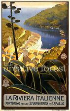LA RIVIERA ITALIENNE 1920 Vintage Italian Travel Poster CANVAS PRINT 24x36 in.