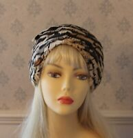 Vintage 1960s Brown and Ivory Feather Hat