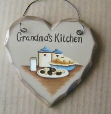 Wood heart GRANDMA'S  KITCHEN Vintage items country decor pie crock sign