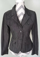 BANANA REPUBLIC Womens Gray Denim Stretch 2 Button Blazer Jacket Coat Size 2 EUC