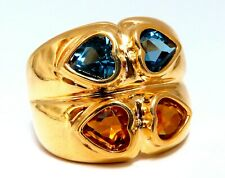 4ct Natural Topaz & Citrine Heart Cut Wide Twin Band 18kt