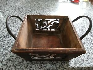 RUSTIC WOOD BASKET WITH TIN DESIGN AND METAL HANDLES