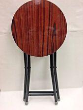 "4 Pcs of Round Wood Folding Stool with Lock, 18"" High."