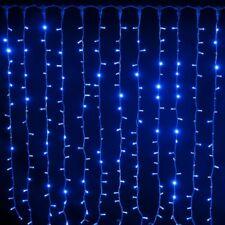 Tenda Luminosa Decorazione Natale 160 Led Luci Natalizie Addobbi Blu Pioggia dfh