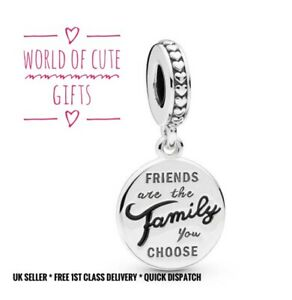 🖤🎀 FRIENDS ARE THE FAMILY YOU CHOOSE Charm European Silver Tone *Gift Wrapped*