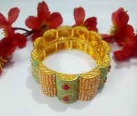 Indian Designer Pearls Bangles With Meenakari Gold Plated Fashion Jewellery Set