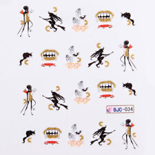 Halloween Nail Art Water Decals Transfers Scary Girl Witch Teeth Blood (BJC34)