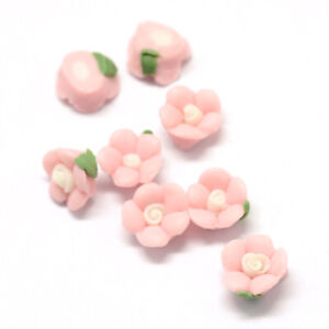 200x Flower Pink Handmade Porcelain Cabochons China Clay Beads 8~9x8~8.5x3.5~4mm