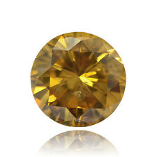 Cognac Color & Clarity Enhanced Round Loose Diamond 5.05Ct Carat SI1