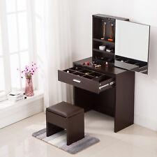 Vanity Dressing Desk Makeup Table with Mirror Cabinet & Drawer Storage Espresso