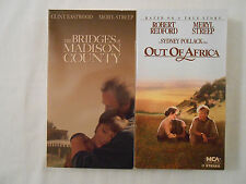 2 MERYL STREEP Movies on 2 VHS Tapes: Bridges Of Madison County/Out Of Africa