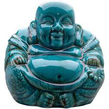 LARGE SITTING CHINESE BUDDHA STATUE TURQUOISE - BLUE CRACKLE GLAZED ORNAMENT