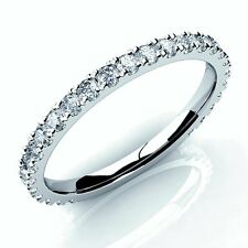 0.60Ct Diamond 3/4 Way Micro Pave Set Eternity Ring , 18k White Gold