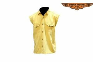 Men's Motorcycle Denim Yellow Sleeveless Shirt with Buttoned Front Closure