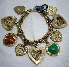 Vintage CORO Rhinestone, Faux Pearl & Stone MULTI HEART CHARM Bracelet~Original