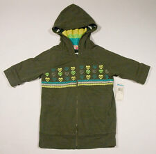 ROXY GIRLS XL 16 NWT REVERSIBLE HOODIE OLIVE AROUND THE BEND HEARTS STRIPES NEW