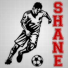 Soccer player wall decal,vinyl wall futbol sticker silhouette Varsity name decal