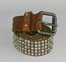 Vintage Htc Studded Beautiful Brown Leather Belt 90/36