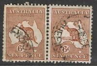 AUSTRALIA 1929 - 30 6d CHESTNUT ROO & MAP - SMALL MULTI WATERMARK - JOINED PAIR