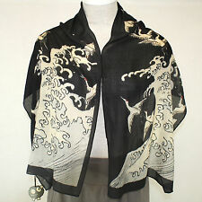NEW NWT Cocoon House Tao Wearable Art Wave & Wings 100% Wool Hand Painted Scarf