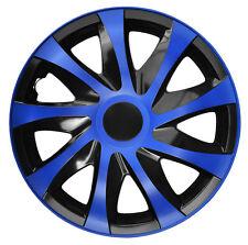 """4 Radkappen Radzierblenden 14 Zoll 14"""" Draco CS schwarz blau black blue"""