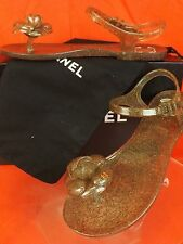 NEW CHANEL GLITTER CAMELLIA FLOWER CC LOGO JELLY BUCKLE FLATS SANDALS 36