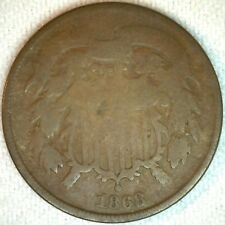 1868 2 Cents United States Type Coin Copper Two Cent 2c Coin Good K54