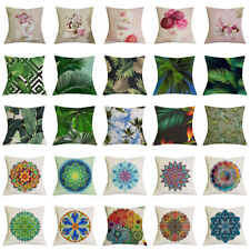 17''Linen Floral Pattern Flower Leave Botanical Cushion Cover Throw Pillowcase