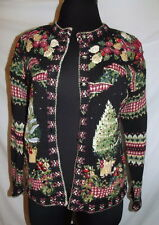 """Wins the award for Ugly Christmas sweater M black/pink/green  44"""" chest"""