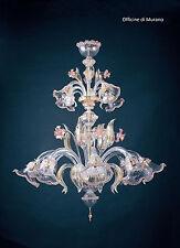 Lampadario di murano -661/8+4 Cristallo Oro Rosa - Montatura Oro 24k