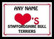 AMORE Cuore STAFFORDSHIRE BULL Terriers MOUSEMAT personalizzato