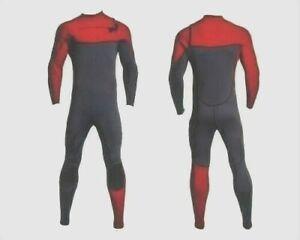 New Large Red Gray Chest Zip Wetsuit 3mm Neoprene Full Body Front Zipper Surf