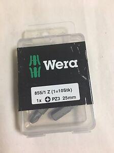 Wera 072405 855/1 Diamond Pozi Drill Bit - Box of 10 PZ3 x 25mm NEW